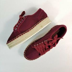 NWOB Asos Jackie Burgundy Platform Sneaker